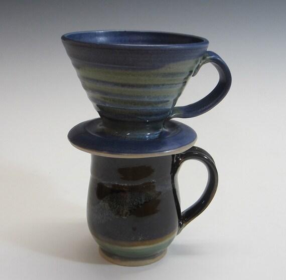 Drip Coffee Maker Coffee Dripper Handmade Pottery Blue