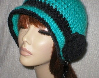 20% OFF SALE Crochet Women Teens 1920's Teal Ebony Suede Larvikite Teardrop Gemstone Cloche Flapper Hat