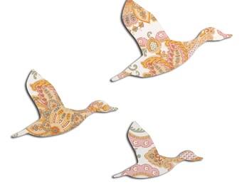 Vintage Wallpaper Flying Ducks - Pink, Silver and Orange