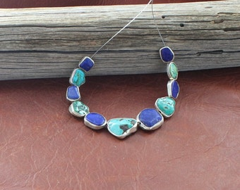 STERLING SILVER RIMMED Lapis and Turquoise Beads #2