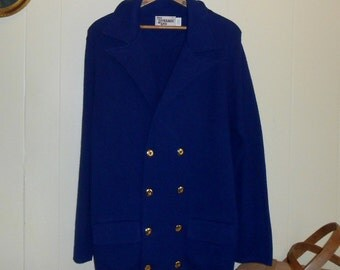 Spring Coat Womens Coats Blue Knit Coat Knit Coat Vintage Coat 70s Coat Double Knit Fabric Blue Double Breasted Coat Navy Coat