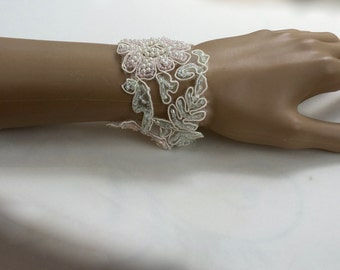 Beaded Lace Jewelry, Beaded Lace Bracelet, Lace Fabric Jewelry, Lace Cuff Jewelry, Lace Cuff Bracelet, Wide Lace Cuff, Lace Bridal Bracelet