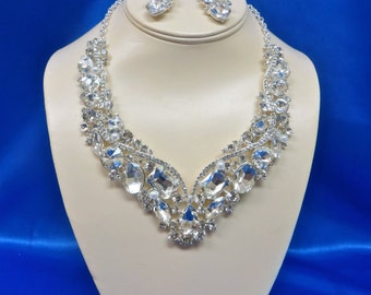 Bridal  Rhinestone Necklace,  Rhinestone Wedding Necklace, Bridal Rhinestone Jewelry, Rhinestone  Wedding Jewelry