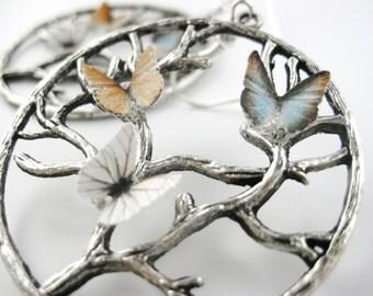 Summer Statement Earrings For Women - Big Sterling Ear Hoops - Butterfly Wing Earrings - Insect Earrings - Unique Celtic Tree Life Jewelry