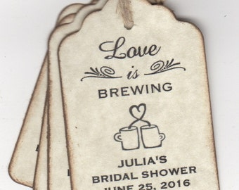 50 Coffee Tea Love Is Brewing Wedding Bridal Shower Favor Thank You Label Tags - Rustic Vintage Style