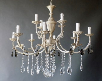 Big stunning 12 lights ivory solid brass chandelier with glass crystals
