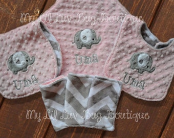 Personalized baby blanket gift set- Blush pink and grey chevron heart elephant with bib and burp cloth- lovey blanket gift set