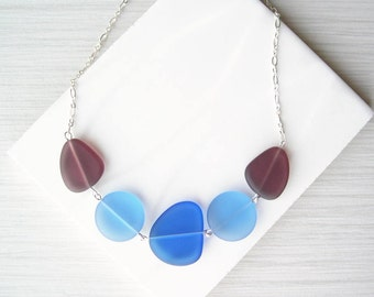 Recycled Glass Jewelry, Blue Sea Glass Look, Plum Purple Necklace, Cobalt, Royal, Multicolor, Nickel Free Sterling Silver, Adjustable