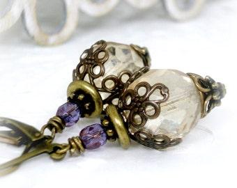 Woodland Czech Glass Earrings Iridescent Earrings Cafe au Lait Leverback Earrings Wedding Rustic Colors Leverback Earrings Vintage Style
