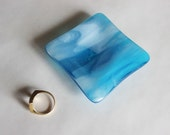 GLASS RING DISH -Turquoise Cloud Ring Dish, Fused Glass, Wedding Ring Dish, Under 10, Trinket Dish, Blue Ring Dish, Gift for Coworker, Glass