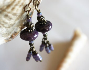 LAMPWORK BEAD EARRINGS Purple Dangles, Casual Rustic Earrings Gift Wrapped, Mothers Day Gift Under 20, Gift for Mom, Gift for Her, Birthday