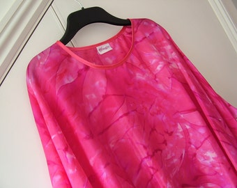 Pink and Fuchsia Silk Poncho Wrap Cape Silk Shawl Women's Clothing
