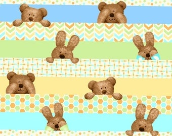 Peek-a-Boo Flannel by Studio E Fabrics - Bears & Bunnies Peeking over Blue Yellow and Green Stripes with Dots, Chevrons - Full or Half Yard