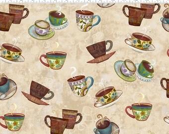 Coffee House by Sue Zipkin for Clothworks - Full or Half Yard Coffee Cups on Tan/Cream