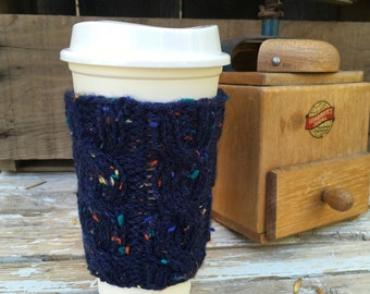 Coffee Cup Cozy, Coffee Mug Cozy - Cable Knit Coffee Cup Sleeve in Dark Blue Tweed, Knit Accessories, Coffee Accessories