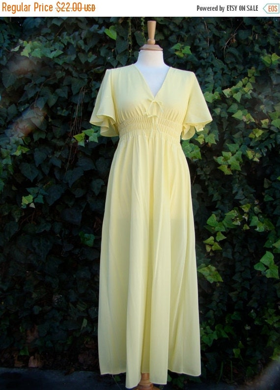 ON SALE Vintage 60s / Lemon Meringue  / Deep V / Flutter Sleeve / Maxi / Goddess / Nightgown / Small