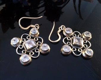 Bezel set Sterling silver Earrings,Celtic jewelry,Quartz Earrings, gemstone jewelry,Dangle earrings,minimalist earrings April birthstones
