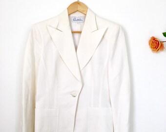 White Linen Blazer 1980's Shoulder Pads One Button