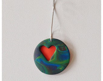 Polymer Clay Cut Out  Heart Ornament or Charm