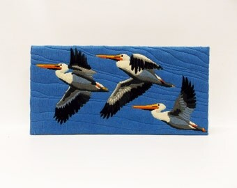 Vintage Crewel Embroidery---Stunning Large Scene of Pelicans in Flight--- Hand Stitched Wall Hanging