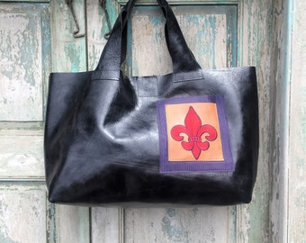 Handmade Black Leather French Market Bag with Camel Leather Custom Embroidered Red Fleur de Lis Exterior Pocket