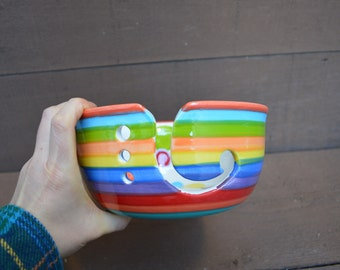 Rainbow Stripes and Polka Dots Large Ceramic Yarn Bowl for Knitters or Crocheters - Bright Salsa Orange Rim