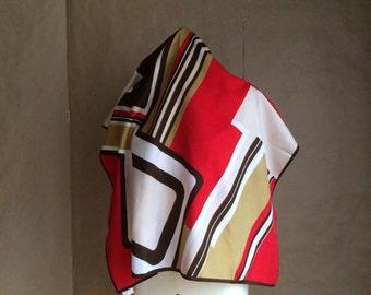 vintage 1970's geometric pattern scarf / neck scarve / head wrap / mod / earthtones
