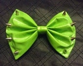 Spiked hair bow Neon Green PVC