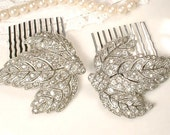 PAIR 1920s Bridal Hair Combs, Art Deco Pave Rhinestone Silver Leaf Antique Dress Clips to Gatsby Hairpiece Flapper Vintage Wedding Accessory