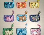 Pokemon Eeveelution Coin Purses with Tails - Eevee Vaporeon Flareon Jolteon Espeon Umbreon Leafeon Glaceon Sylveon