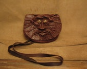 "Grichels leather belt pouch bag - ""Dadlo"" 27729 - textured and plain chocolate brown with honey brown coyote eyes"