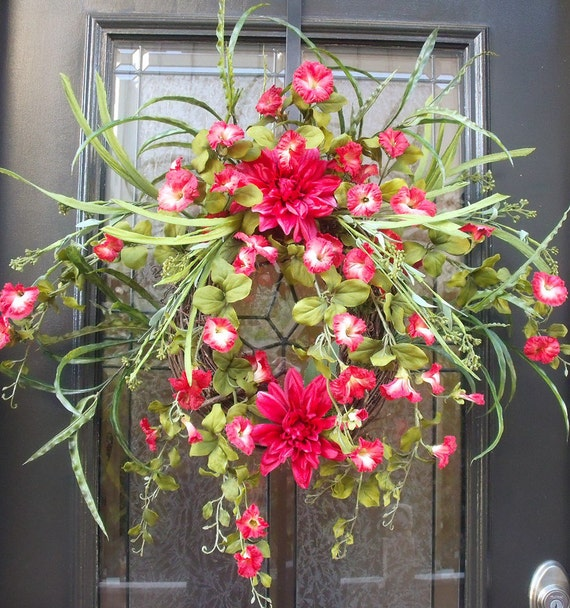 Floral Door Wreath, Wreath, Spring Wreath, Etsy Wreaths, Red Summer Wreath, Door Wreaths