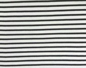 Jersey Knit Fabric - Black and white stripes