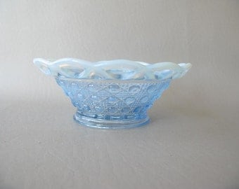 Imperial Glass Bowl Blue Opalescent Lace Edge Dish