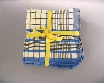Vintage Plaid  Napkins, blue yellow, large set, 12, dinner, Belgium, woven