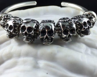 Made to Order Steampunk Skull Big Hole Bead for European Bracelets
