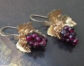 Dangle Garnet Grape Clusters Earrings  – Handcrafted Vintage Wine Wires