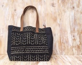 Tribal Tote/ Mudcloth/ Beach Tote/ Leather