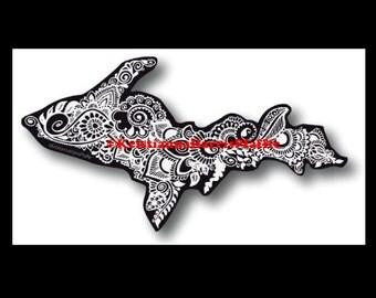 Michigan's Upper Peninsula - 4-inch vinyl decal - henna/mehndi designs - white on black