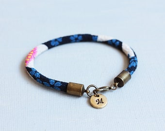 Personalized Initial Fabric Cord Bracelet. Japanese chirimen cord with initial monogram, gift for mom, silk rope bracelet, Christmas gift