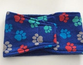 Dog Diaper - Male Dog - Belly Band - Belly Wrap - Blue with Multi Paw Prints - Available in all Sizes