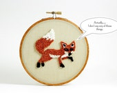 Ready to Ship! Fox Punch Needle Embroidery Hoop Art Home Decor. Rust and Khaki. Wall Hanging, 5 inch hoop, Woodland Theme, Forest Animal.