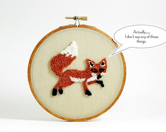 Fox Punch Needle Embroidery Hoop Art Home Decor. Rust and Khaki. Wall Hanging, 5 inch hoop, Woodland Theme, Forest Animal.