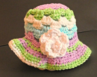 Baby Bucket Hat,  Spring, Baby Sun Hat, NB to 3 Months Sized, Multicolor Purple, Green and Blue, Flower