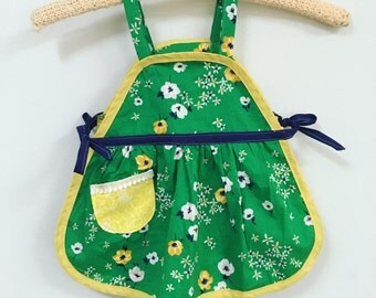 Handmade Vintage Apron Style Girls Top Green