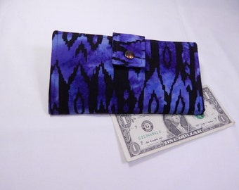 Batik Wallet, Purple Black Batik, Handmade Wallet, Fabric Wallet, Made in USA