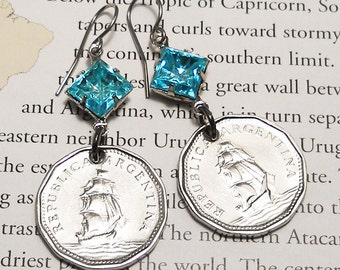Argentina, Vintage Coin Earrings - - High Seas - - Navy - Sailing Vessel - Frigate - World Travel - Ocean Voyage