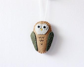 Owl Ornament, Handmade Christmas Ornament, Holiday Decoration, Bird Ornament, Christmas Decor, Hand-stitched, ready to ship, hostess gift