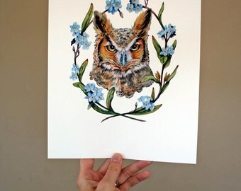 Great Horned Owl Portrait with Forget-me-nots - Archival Quality Print