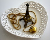 Valentine's Day Ring Dish Jewelry Dish Eiffel Tower Ring Dish Valentine's Day Gift For Her Heart Shaped Dish Romantic Gift Eiffel Tower Chic